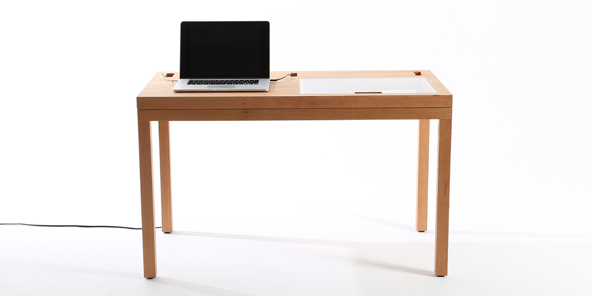 WT desk by Consentable hides cables and devices