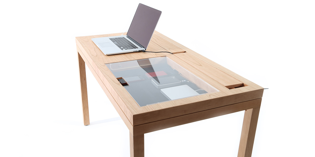 WT modern desk by Consentable hides cables and devices