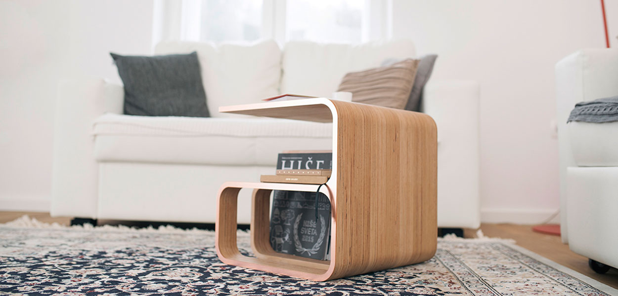 Woodieful: chair, magazine holder, side table in one