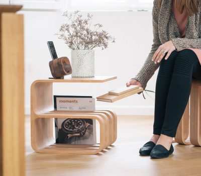 Woodieful multifunctional furniture: chair, magazine holder, side table