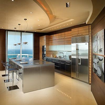 Akoya Mayor Residence modern kitchen for stunning Miami Beach, Florida penthouse