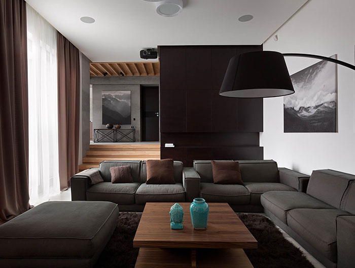 Amazing luxury living room design with neutral color palette and finished in American walnut furniture