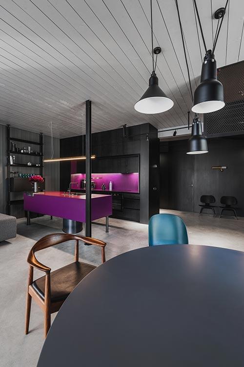 Dark interior with pops of color