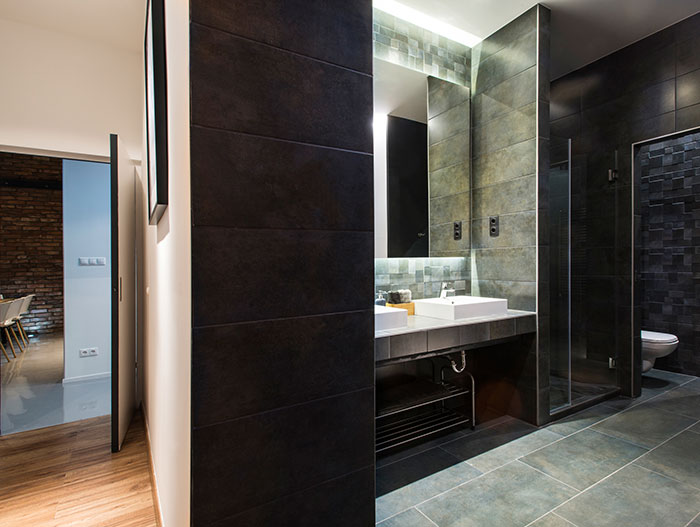 Modern bathroom design in Budapest apartment by GASPARBONTA design and architecture studio