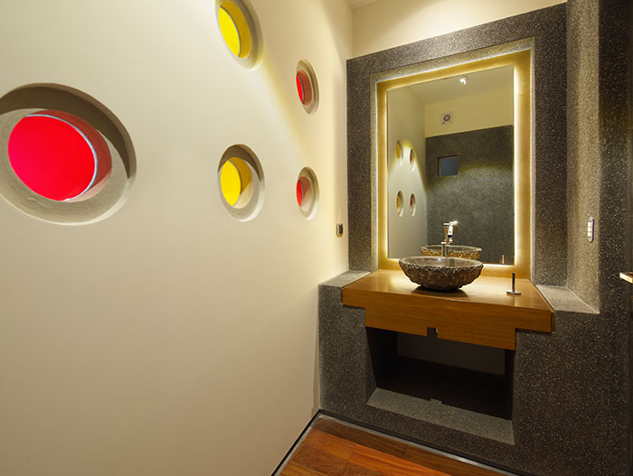 Bathroom design with stone sink in breathtaking house in Peru