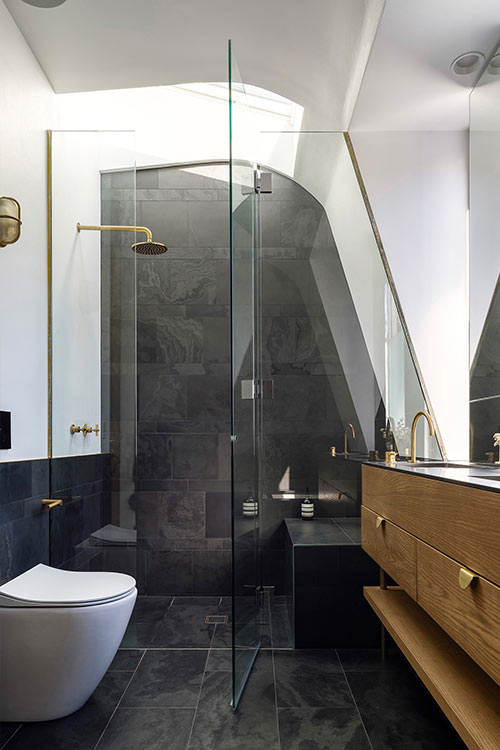 Contemporary bathroom in a stylish terraced house located in Sydney