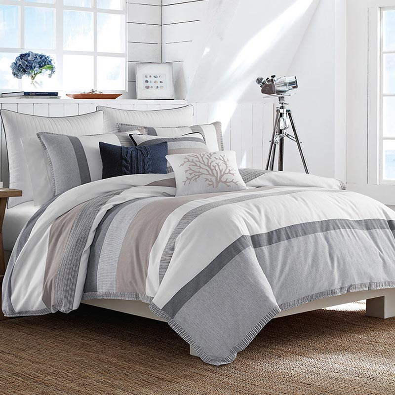 Beautiful khaki striped bedding set by Nautica