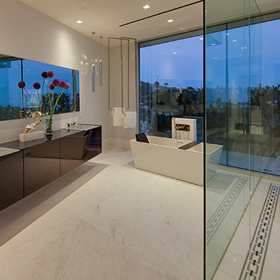Contemporary bathroom in Beverly Hills mega mansion named Carla Ridge Residence