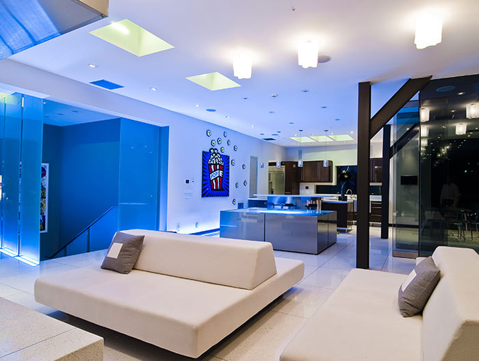 Blue light living room area with stunning views of Los Angeles California