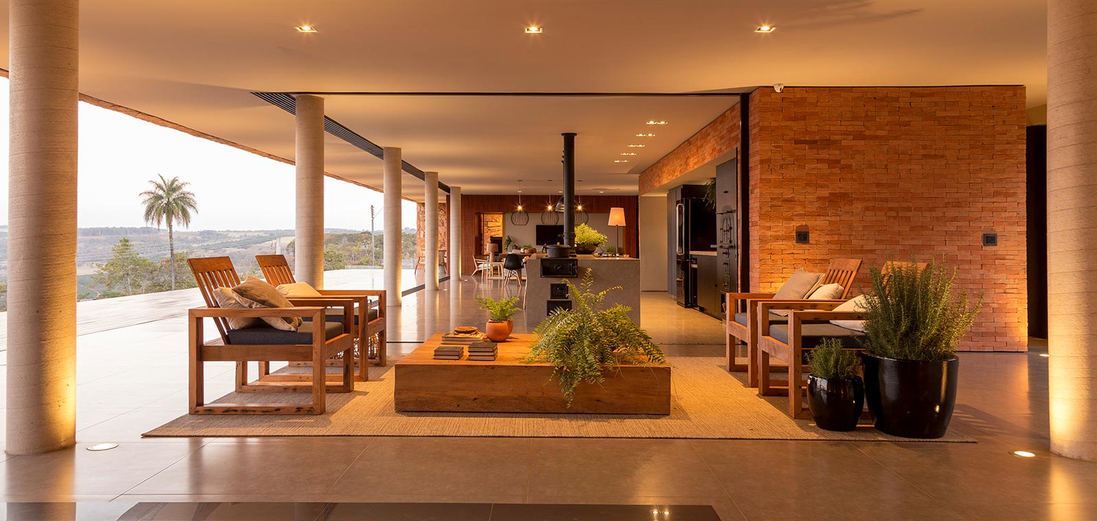 Casa Das Pedras by mf+arquitetos located in Brazil - open-plan living and kitchen area