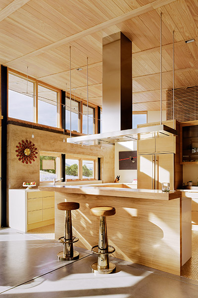 Caterpillar House - Contemporary ranch home with great kitchen design in California