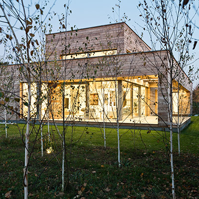 Cedar House in Poland, view from outdoor garden with trees