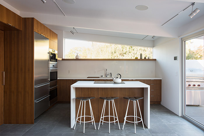 Modern kitchen design idea in remodeled Californian house inspired by traditional Japanese architecture