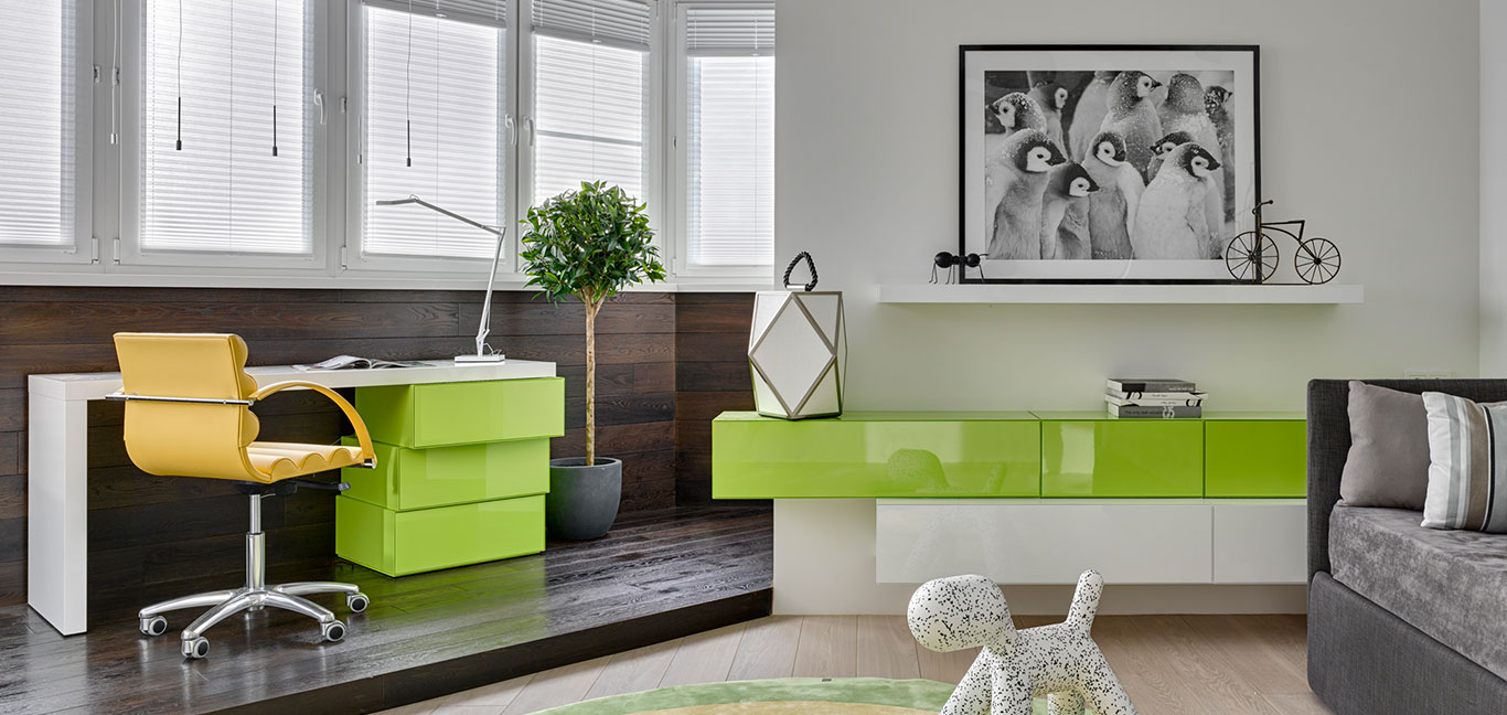 Colorful home office in comfortable modern Moscow apartment designed by Russian architect Alexandra Fedorova