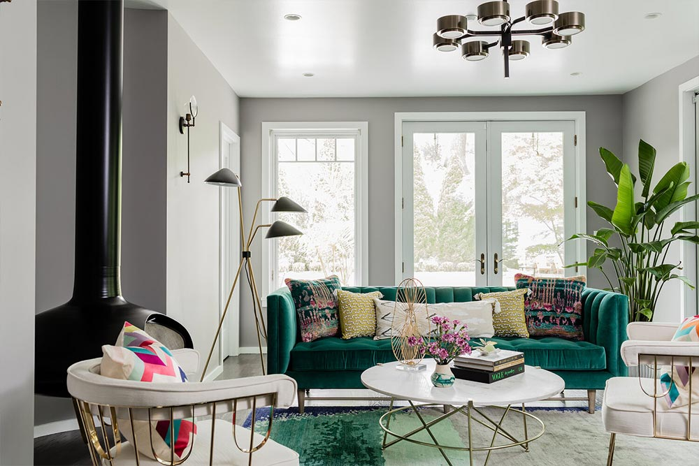 Living room decor idea - colorful sofa adds character to the room and becomes the main focal point