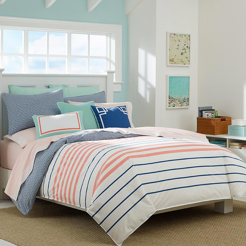 Colorful striped bedding set