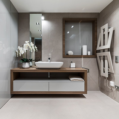 Contemporary bathroom in dazzling summer retreat apartment near Monaco for enjoying the lavish lifestyle on the French Riviera