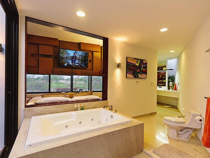 Contemporary bathroom design in lakeside house
