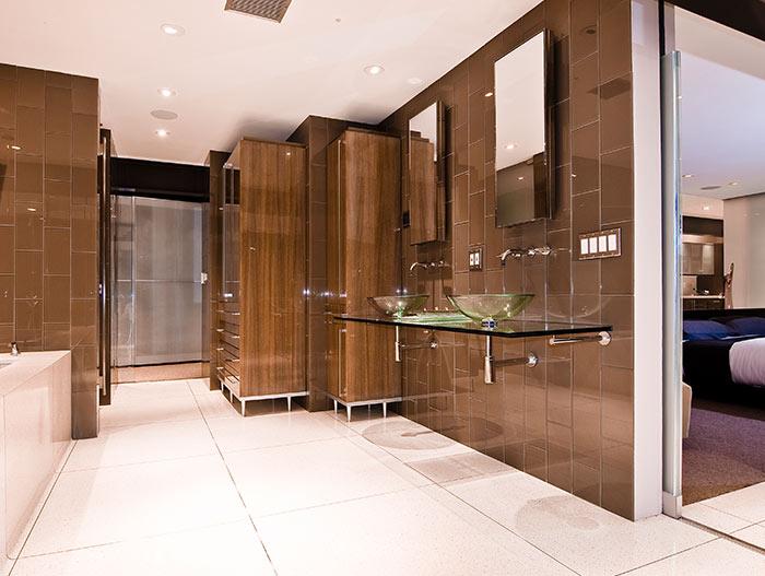 Contemporary bathroom in modern bachelor pad