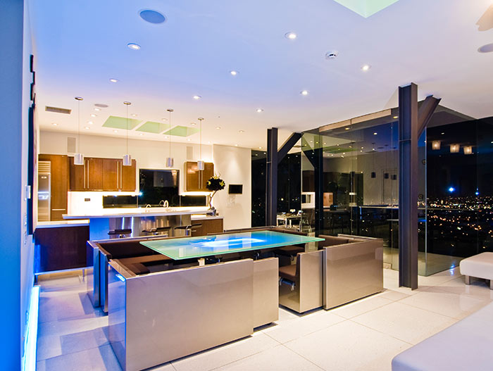 Contemporary kitchen with stunning views of Los Angeles bachelor pad