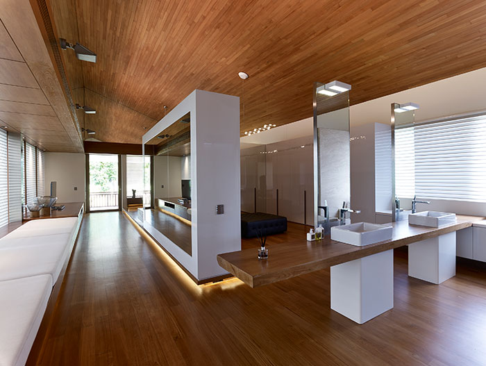 Contemporary service area in amazing home in Singapore by Robert Greg Shand Architects