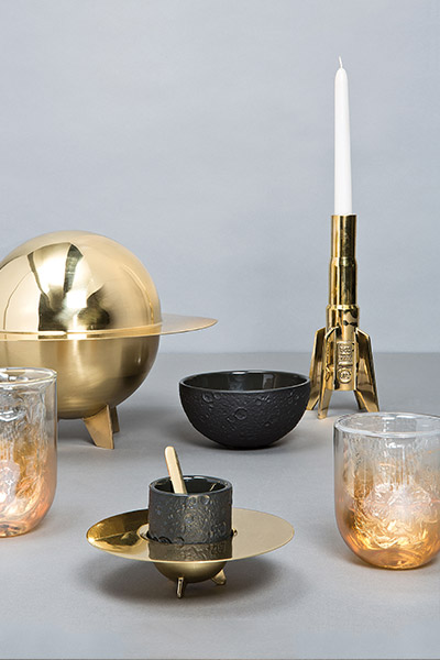 Cosmic Diner Collection - Meteorite glassware and rocket candleholder