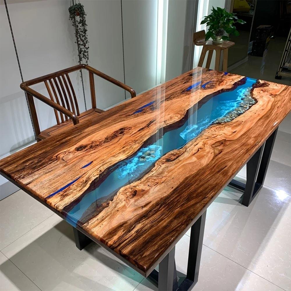 Custom blue epoxy resin table for sale made of ebony wood