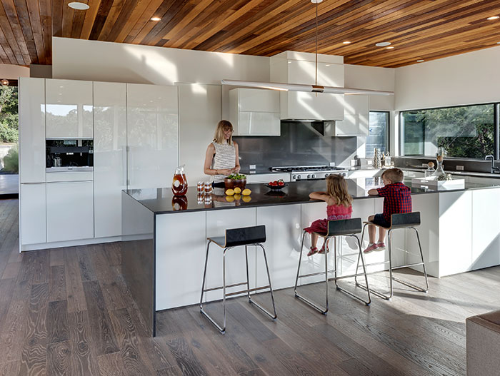 Dazzling Bracketed Space House with modern open space kitchen and living area, located in Austin, Texas - designed by Matt Fajkus Architecture for a young family