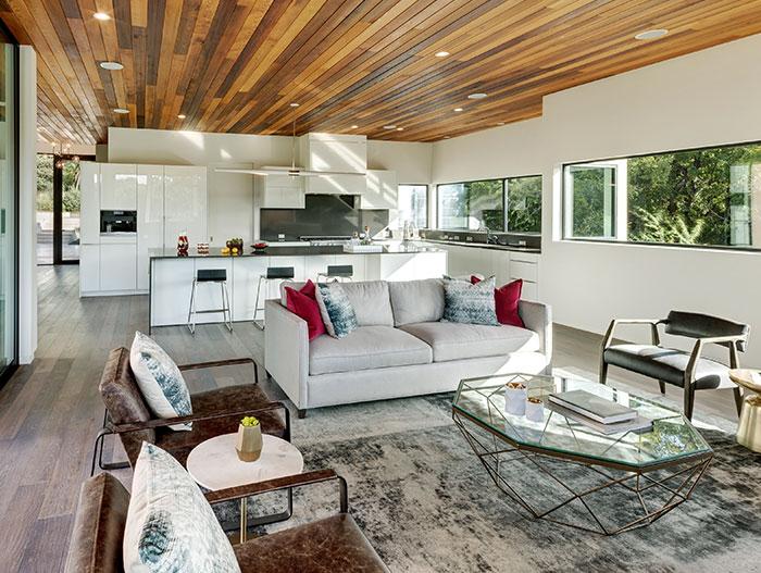 Modern living room design idea in dazzling house located in Austin, Texas - by Matt Fajkus Architecture