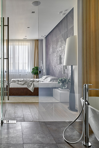 Incredible ensuite bathroom overlook gorgeous master bedroom - interior design by Alexandra Fedorova