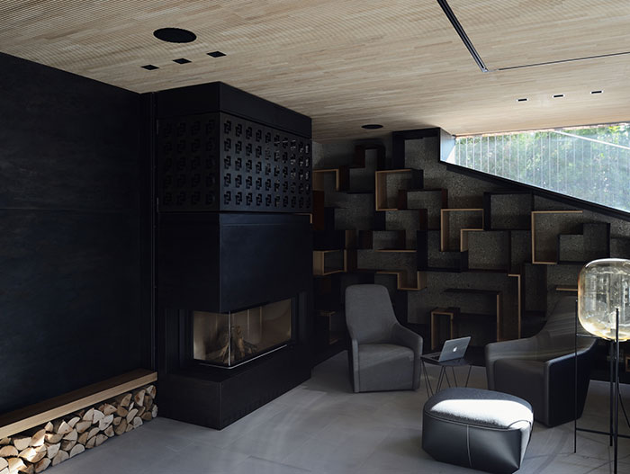 Modern fireplace in the living area of a luxurious villa in Vienna