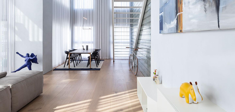 The Glass blocks duplex: Bright duplex apartment in Israel by Tal Goldsmith Fish