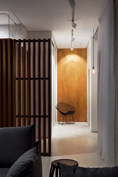 Gorgeous entrance to minimalist apartment in Ukraine by NOTT Design