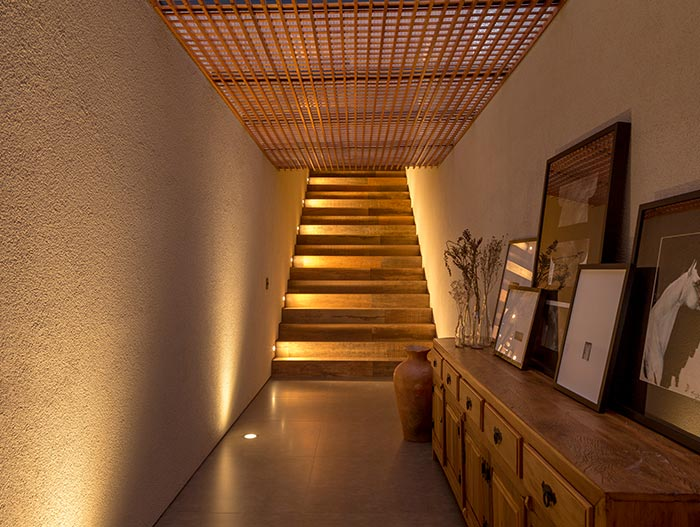 House of Stones in Franca, Brazil - illuminated staircase