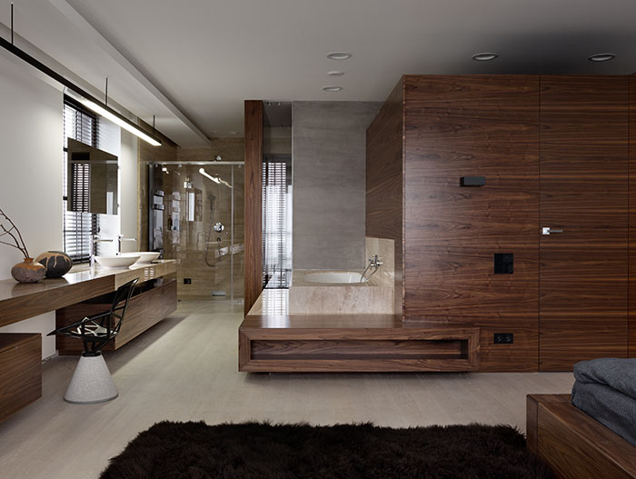 Incredible bedroom with ensuite bathroom with gorgeous neutral color palette that's a joy to behold