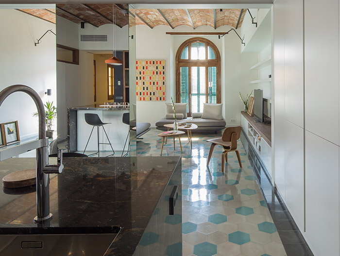 Stunning apartment designed by Nook Architects for the owner's occasional visits to Barcelona