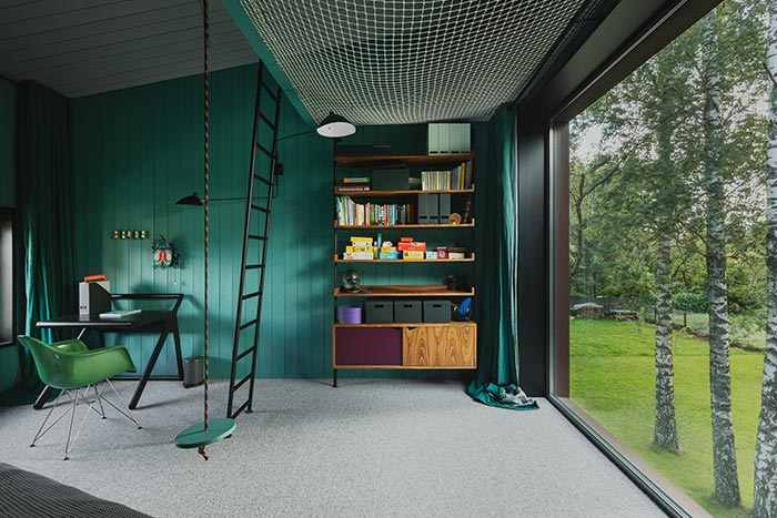 Modern timber house in Riga, Latvia designed by Open AD - kids' room design idea