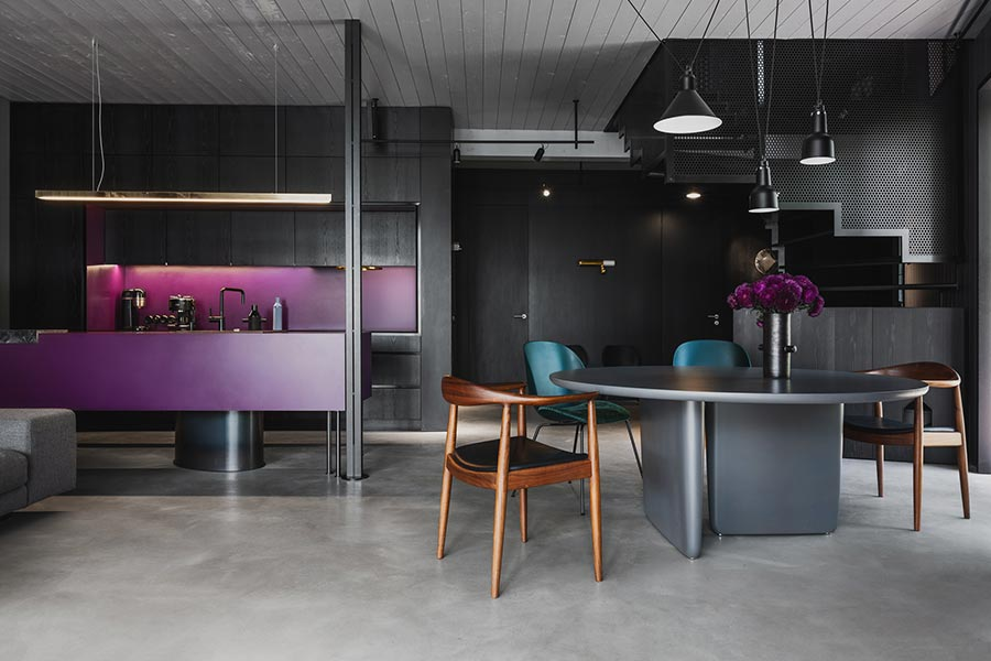 Modern timber house in Riga, Latvia designed by Open AD - kitchen and dining area