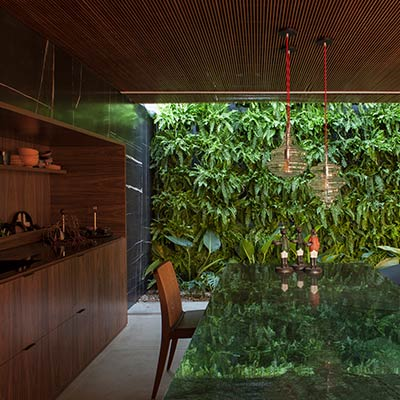 Amazing kitchen with wood cabinets and marble counter, completely open to the lush vertical garden outside - contemporary brazilian house