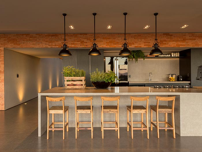 House of Stones in Franca, Brazil - kitchen designed by mf+arquitetos