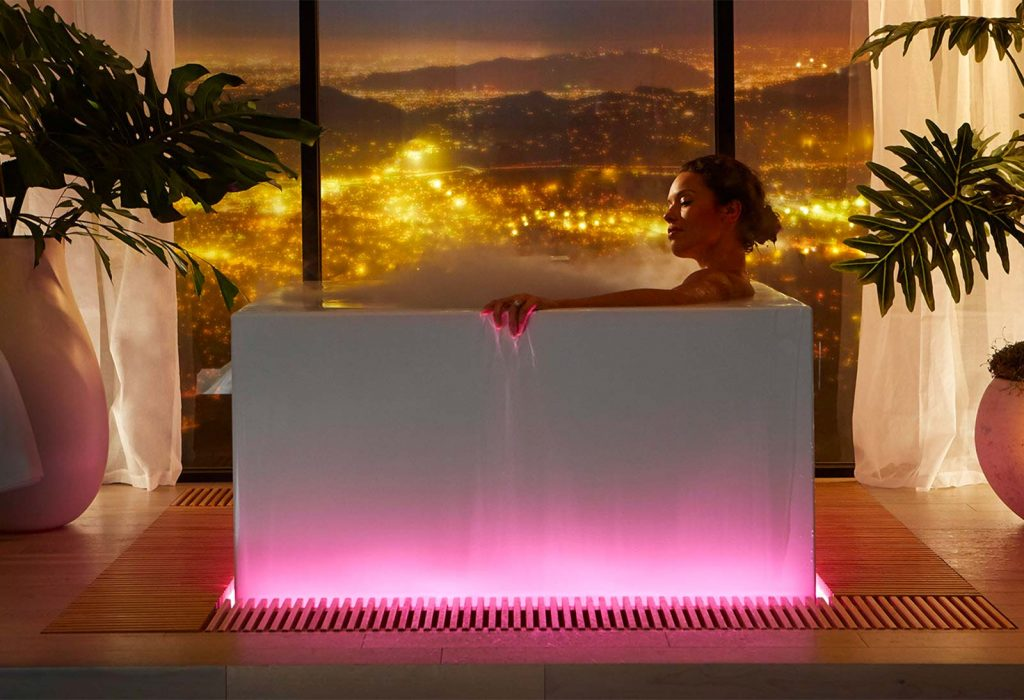 Kohler's Stillness Infinity Experience Bath creates a spa-like experience at home