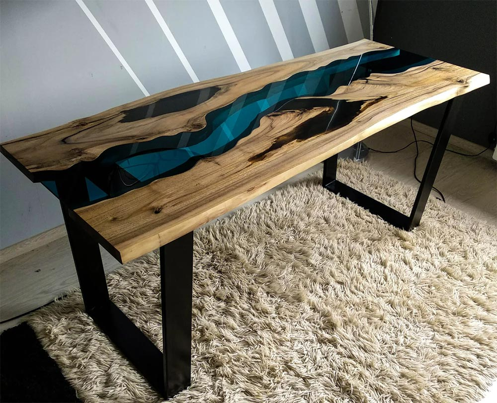 Live edge walnut river table with smoked black epoxy resin