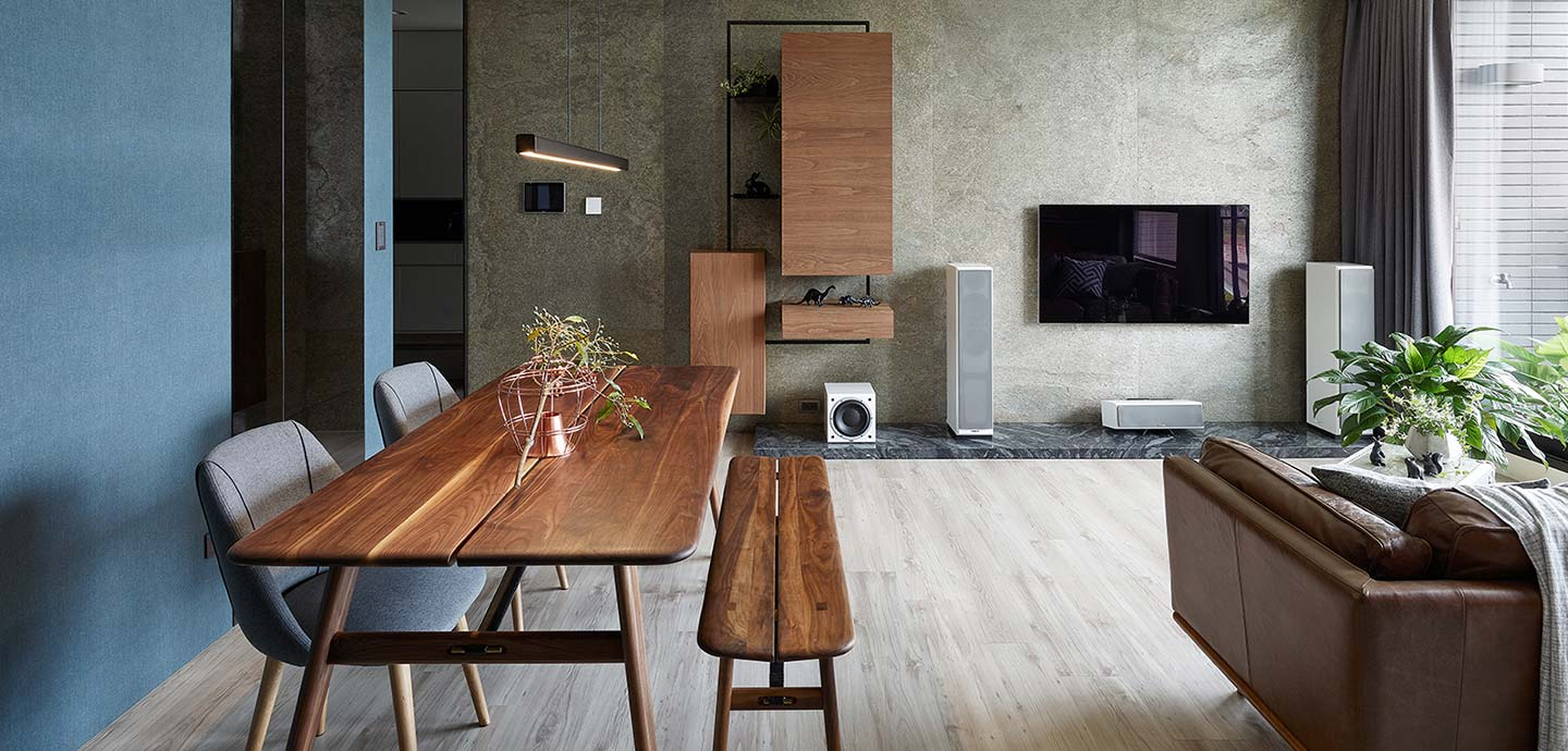 Open-space living area inside a small home in Taiwan designed by Awork.Design Studio
