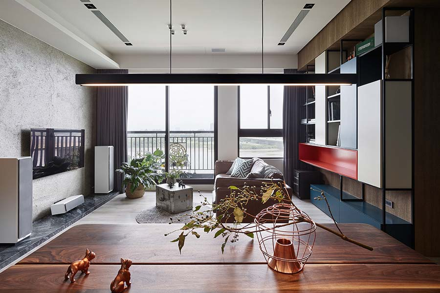 Open-space living area inside a small home in New Taipei City, Taiwan designed by Awork.Design Studio