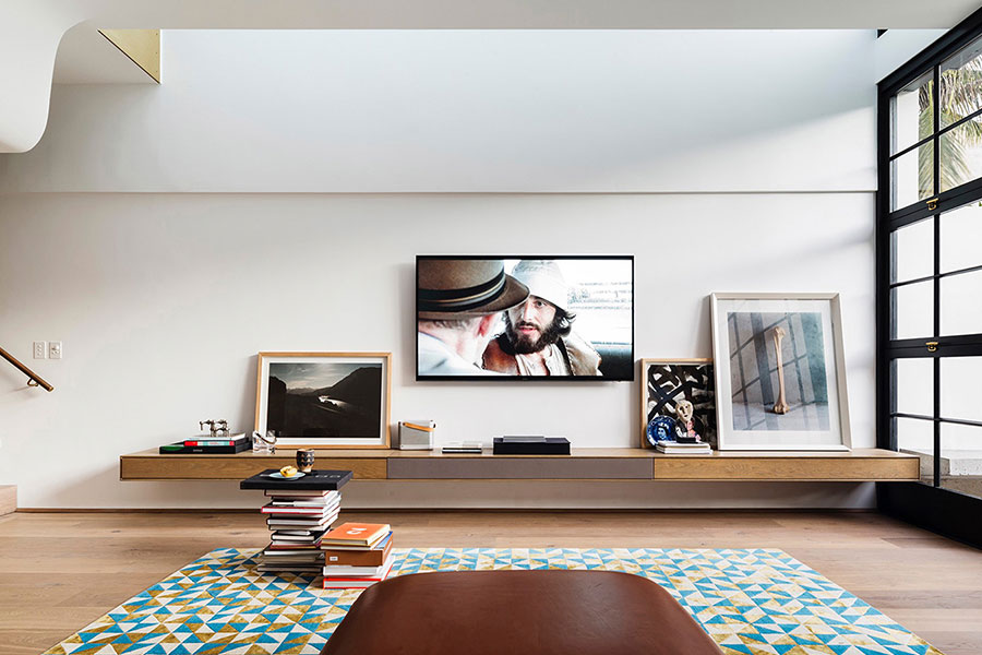 Living room design idea in stylish terraced house in Sydney - designed by Luigi Rosselli Architects