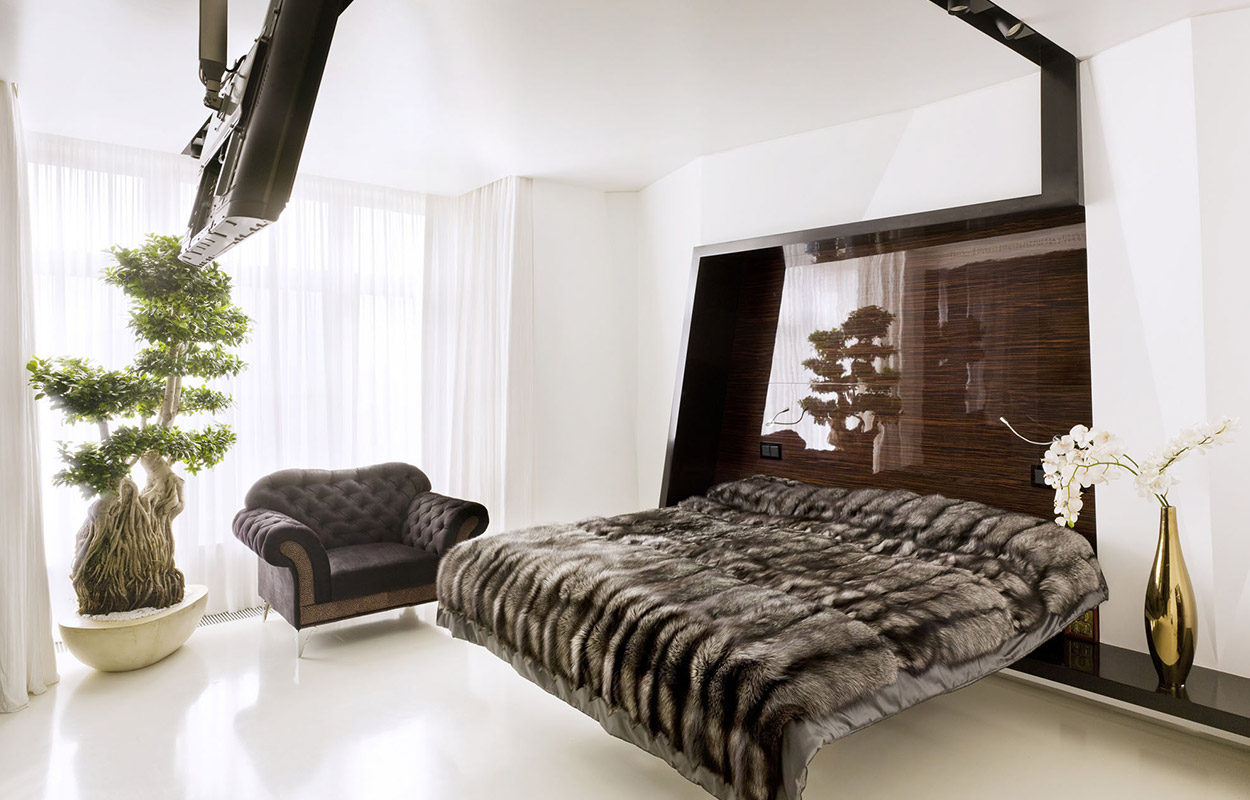 Luxurious apartment in Moscow, Russia with floating bed