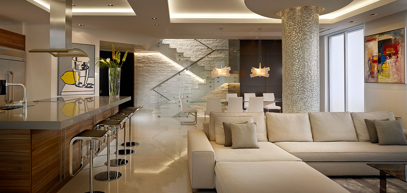 Luxuriousliving room in a breathtaking penthouse in Miami Beach, Florida by Pepe Calderin Design