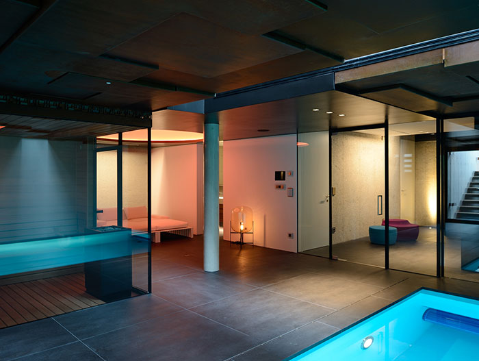 Indoor pool and spa area of a luxurious villa in Vienna, Austria