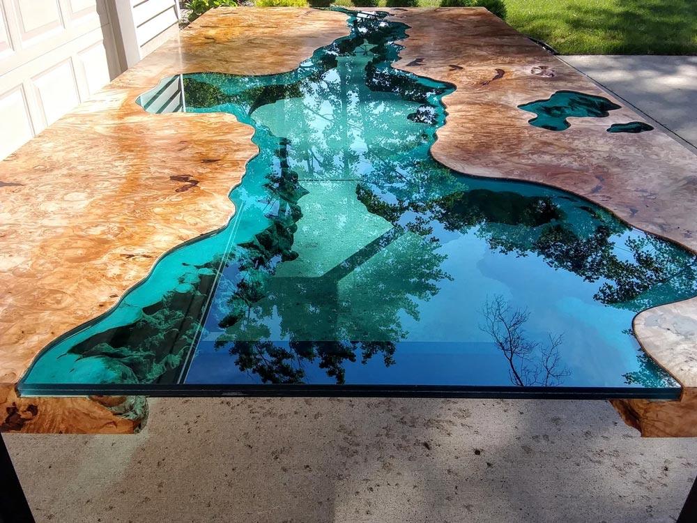 Big leaf maple burl glass river table for sale