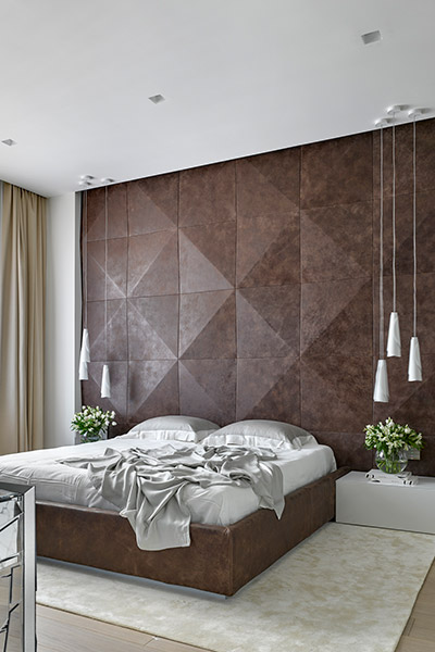 Fantastic master bedroom design in modern, sophisticated apartment in Moscow, Russia